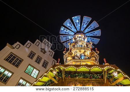 Pyramid On The Christmas Market In Rostock, Germany.