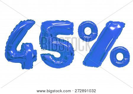 Forty Five Percent From Dark Blue Color Balloons On Isolated Background. Discounts And Sales