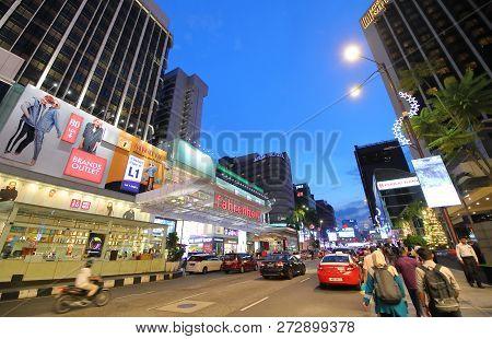 Kuala Lumpur Malaysia - November 19, 2018: Unidentified People Visit Bukit Bintang Shopping Street I