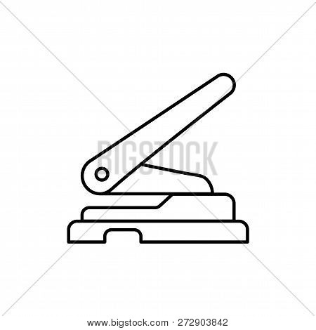 Black & White Vector Illustration Of Hole Punch. Line Icon Of Office Paper Puncher. Isolated Object