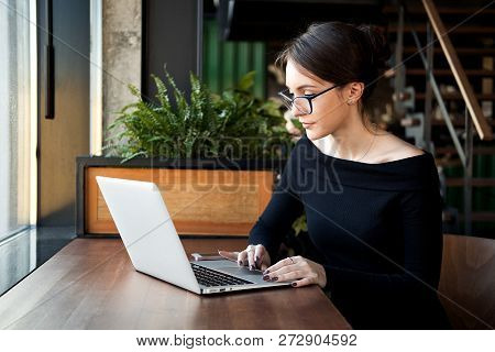 Focused Business Woman Sit On Cafe Working On Laptop, Concentrated Serious Female Working With Compu