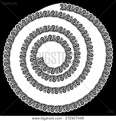 Lace Round Paper Doily, Drawing Spiral, Greeting Element, Laser Cut  Template, Doily To Decorate The