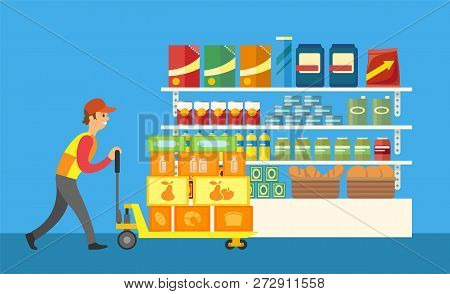 Loader Working In Supermarket Merchandiser Profession Vector. Merchandiser With Container And Boxes