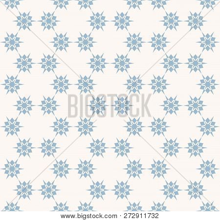 Vector Blue Snowflakes Seamless Pattern. Subtle Abstract Texture With Small Floral Shapes, Stars, Sn