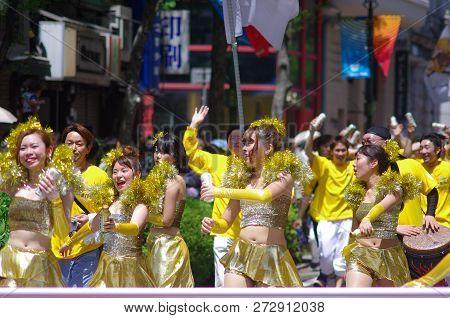 Yokohama, Japan - May 3, 2015: Young Women Are Dancing On The Street In