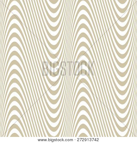 Curved Wavy Lines Seamless Pattern. Vector Texture With Golden Waves, Stripes. Modern Abstract White