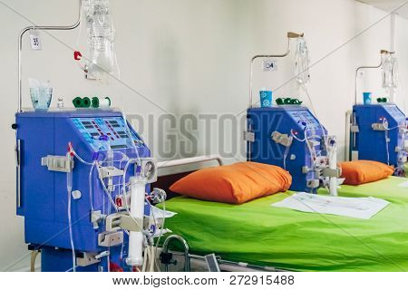 Hemodialysis Machine In A Modern Dialysis Center