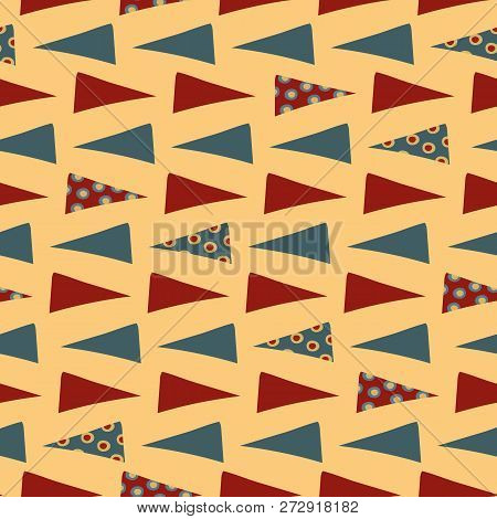 Tribal Hand Drawn Red And Blue Triangles With Circle Overlay In Geometric Seamless Vector Pattern On