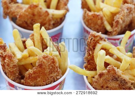French Fries And Fried Chicken Nuggets Delicious
