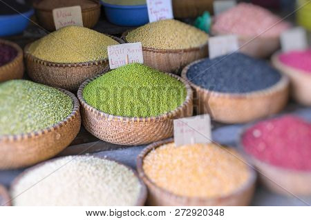 Various Spices And Seasoning At Traditional Street Market In Hanoi. Spices Background. Vietnamese Sp