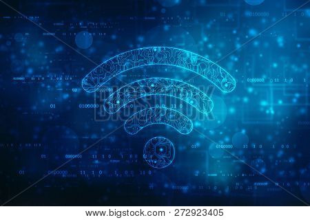 2d Rendering Wifi Symbol, Internet Communication Concept Background, Cyber Technology Background