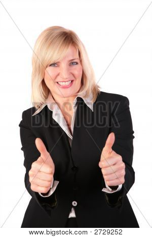 Middleaged Woman Gives Gesture 3 Two Finger Ok