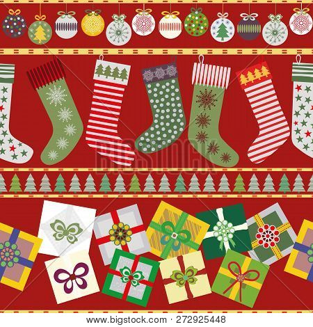 Funky Seamless Horizontal Vector Pattern With Multicolour Baubles, Christmas Stockings And Presents