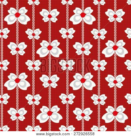 Red White And Silver Vector Seamless Vertical Linear Christmas Bows And Ribbons On Subtly Textured R