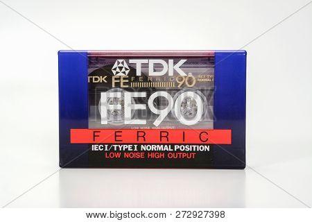Prague, Czech Republic - November 29, 2018: Audio Compact Cassette Tdk Fe 90 Ferric. Audio Cassette