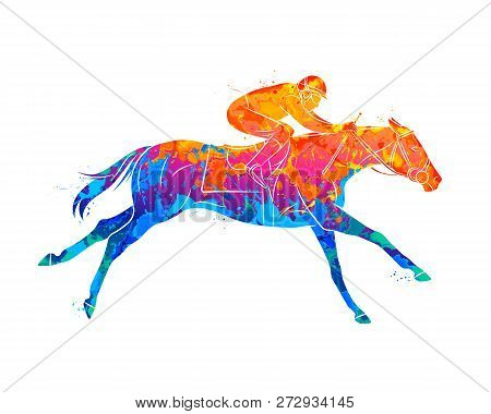 Abstract Racing Horse With Jockey From Splash Of Watercolors. Equestrian Sport. Vector Illustration