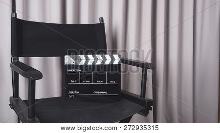 Clapper Board Or Movie Slate With Black Director Chair Use In Video Production , Movie, Cinema Indus