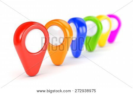 Colour Gps Map Pointers On White Background
