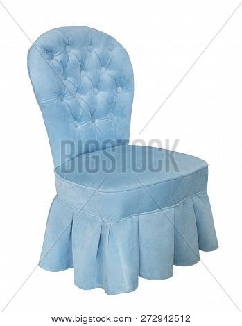 Vintage Blue Chair Isolated On White Background. Retro Style. Furniture For Refined Interior. Illust
