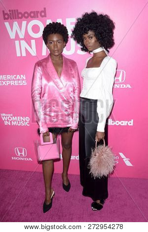 NEW YORK - DEC 6: Isis Valentino (L) and Alexe Belle attend Billboard's 13th Annual Women in Music event on December 6, 2018 at Pier 36 in New York City.