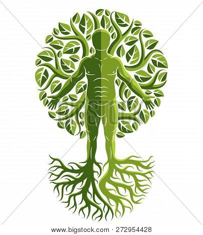 Vector Illustration Of Human Being Created As Continuation Of Tree With Strong Roots And Composed Us