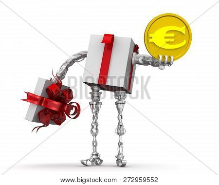 Money - The Best Gift. Concept With The European Currency. Cyborg As A Open Gift Box (with Hands And