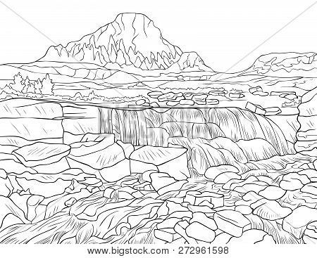 A Nature Landscape With A Cascade And Stones And Trees Image For Adults.line Art Style Illustration