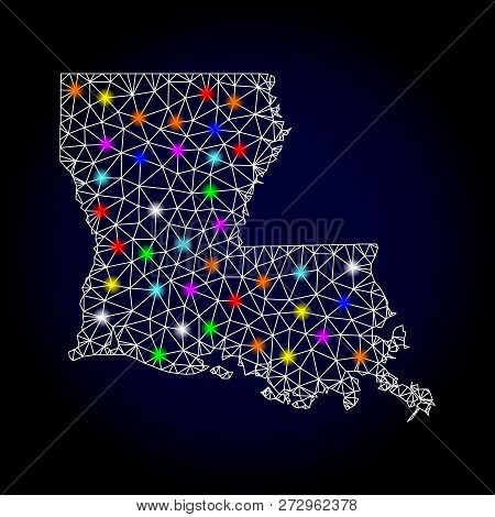 Glossy Polygonal Mesh Map Of Louisiana State With Glare Effect. Vector Carcass Map Of Louisiana Stat
