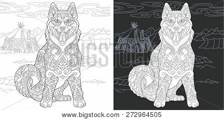 Coloring Page. Coloring Book. Colouring Picture With Husky Dog Drawn In Zentangle Style. Antistress