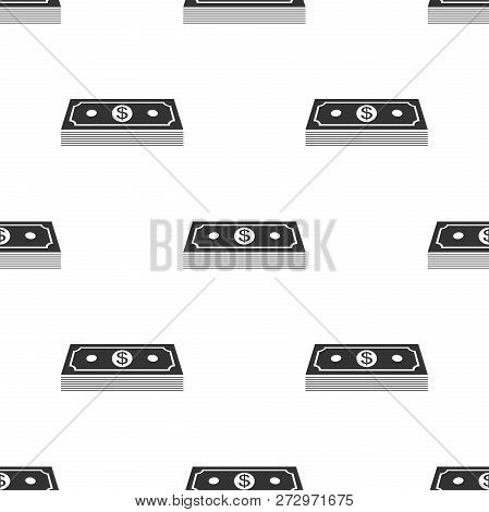 Paper Money American Dollars Cash Icon Seamless Pattern On White Background. Money Banknotes Stack W