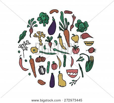 Round Badge Of Vector Vegetables. Collection Of Veg In Doodle Style Isolated On White Background.