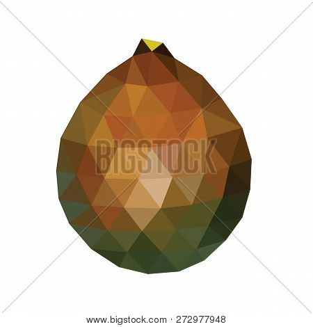 Polygonal Salacca Or Salak Fruit, Low Poly Zalacca, Vector Illustration