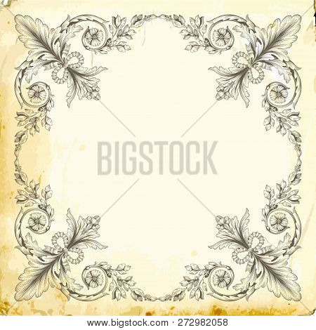 Retro Baroque Decorations Element With Flourishes Calligraphic Ornament. Vintage Style Design Collec
