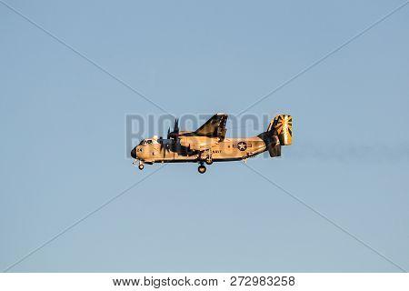 San Diego, California - March 2, 2017:  A Grumman, C-2a Greyhound U.s. Navy, Twin-engine, High-wing