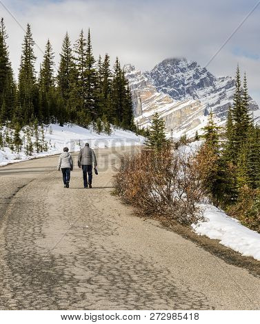Stunning View Of Canadian Rockies Mountain At Banff National Park In Alberta, Canada. Trail To Peyto