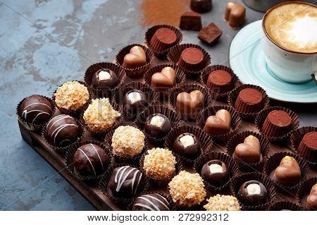Chocolate Handmade Candies, Pralines And Truffles In Assortment.