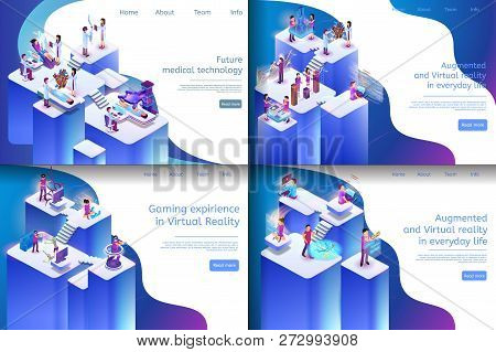 Isometric Illustration Virtual Reality Processes. Banner Set Image Future Medical Technology, Gaming