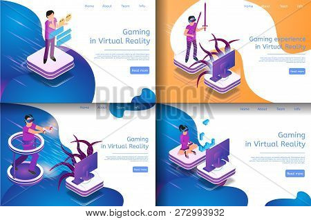 Isometric Image Process Virtual Game Communicating. Banner Set Illustration Gaming In Virtual Realit