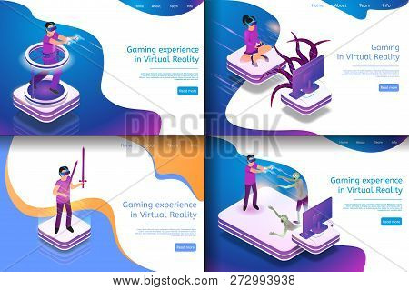 Set Isometric Illustration Virtual Entertainment. Banner Set Image Future Gaming In Virtual Reality.