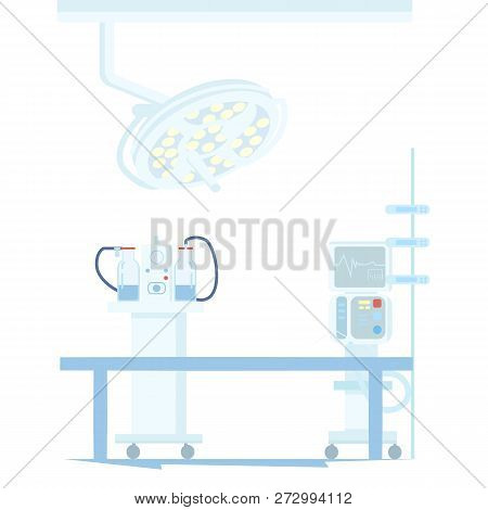 Medical Equipment, Electronic Devices For Surgical Operations In Operating Room Flat Vector Illustra