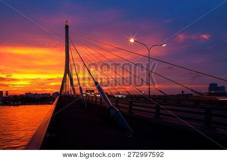 Bangkok, Thailand-april 28:the Rama Viii Bridge, One Of Thailand Most Famous Bridges, Spanning The R