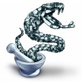 Fentanyl opioid danger and drug overdose health risk with prescription painkiller addiction epidemic concept as a group of pills shaped as a venemous snake with 3D illustration elements with a mortar and pestle. poster