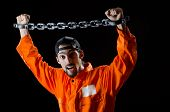 Inmate chained on black background poster