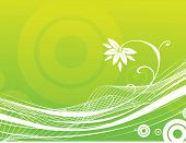 A Abstract green floral background with wave poster