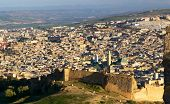 Aerial view of the old Medina in Fes at sunset, Morocco (Fes El Bali Medina) poster