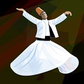 Dervish. Symbolic study of Mevlevi mystical dance. poster