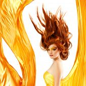fire teenager girl beautiful red hair enjoying poster