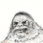 Face of Legendary Bigfoot. Mysterious humanoid a Sasquatch creature. poster