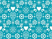 Sugar skull vector seamless pattern inspired by Mexican folk art, Dia de Los Muertos repetitive design in white on turquoise background poster
