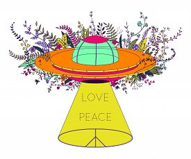 Ufo Spaceship. Unidentified Flying Object With Light Beam, Flowers And Hippie Peace Symbol. Peace, L